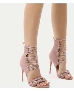 Athena Corset Lace Up Stiletto High Heels In Blush Pink Faux Suede