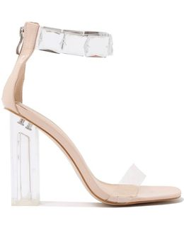 Spirit Square Gem Strap Perspex High Heels In Nude Patent
