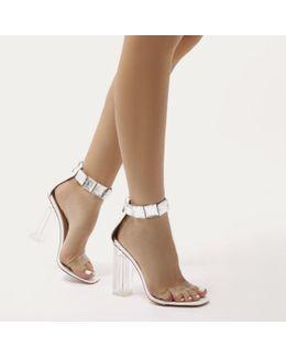 Spirit Square Gem Strap Perspex High Heels In White