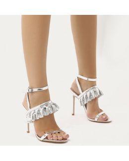 Lion Frill Strap Stiletto Heels In Silver