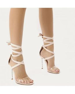 Pisces Twisted Stiletto Lace Up Heels In Nude