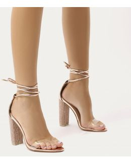 Fatale Diamante Perspex Lace Up Heels In Rose Gold