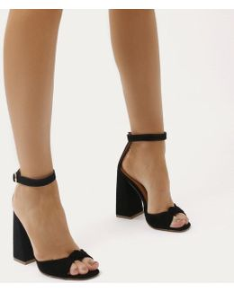 Embrace Knot Front Flared Block Heels In Black Faux Suede