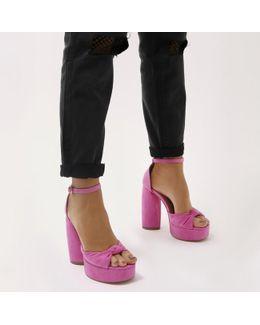 Backbite Knot Detail Teardrop Heel Platforms In Hot Pink Faux Suede