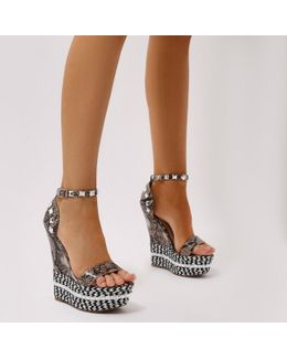 Stacey Braided Studded Wedges In Faux Snake