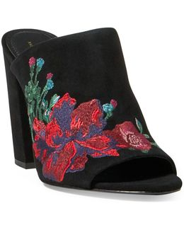 Kinley Embroidered Suede Mule