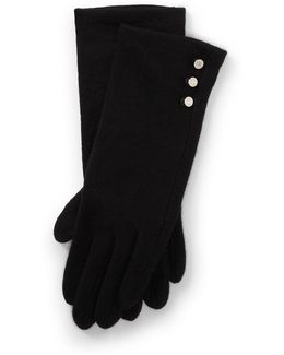 Buttoned Lambswool Tech Gloves