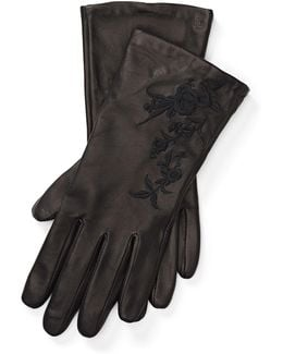 Floral Leather Tech Gloves