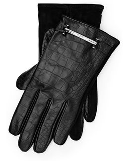 Crocodile-embossed Gloves