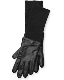 Knit-cuff Leather Gloves