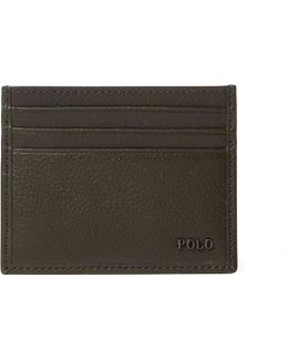 Metal-plaque Leather Card Case