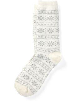 Snowflake Fair Isle Crew Socks