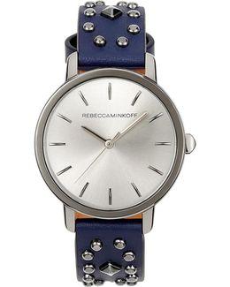 Bffl Gunmetal Tone Studded Leather Watch, 36mm