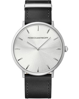 Major Silver Tone Leather Watch, 40mm