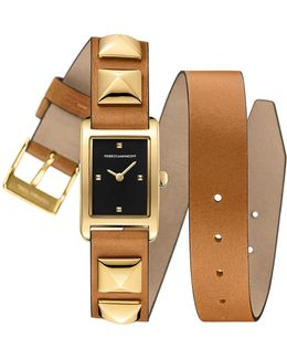 Moment Gold Tone Studded Leather Wrap Watch, 19mm X 30mm