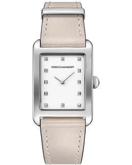 Moment Silver Tone Leather Watch, 26.5mm X 38.5mm