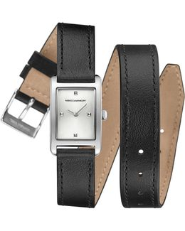 Moment Silver Tone Leather Wrap Watch, 19mm X 30mm
