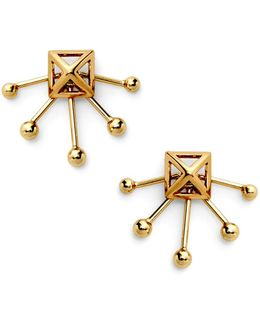 Pyramid Fan Stud Earring