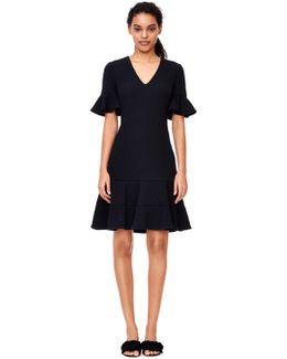 Stretch Textured V-neck Dress