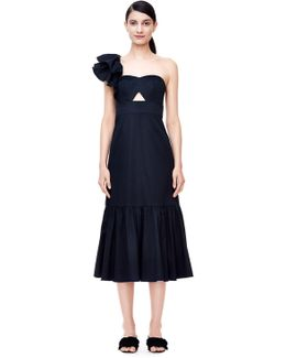 One-shoulder Cotton Ruffle Dress