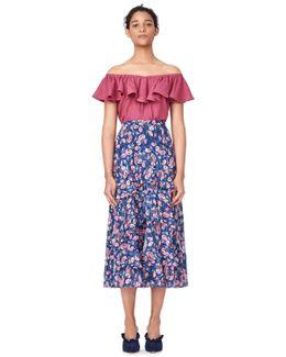 Off-the-shoulder Rose Silk Cloque Top