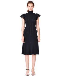 Pointelle Knit & Lace Dress