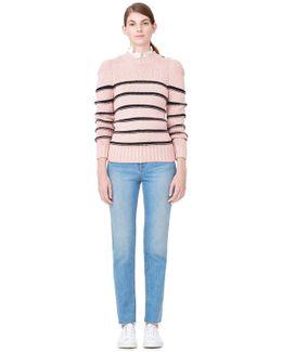 La Vie Cotton Merino Striped Pullover