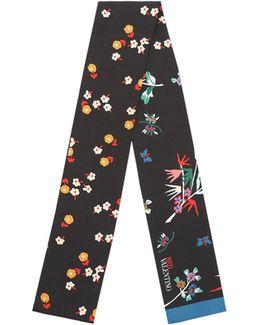 Flower-printed Silk Twill Bandeau Scarf