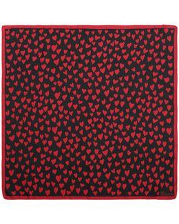 Heart-printed Silk Twill Foulard