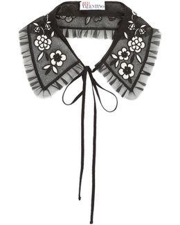 Flower-embroidered Silk Collar