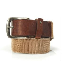 Belt, Beige Canvas And Leather 'jimmox' Belt