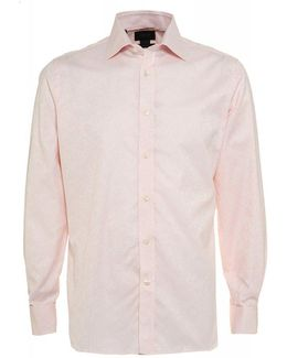 Strawberry Pink Floral Jacquard Tailored Fit Shirt