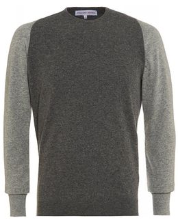 Palmer Charcoal Mid Grey Melange Lambswool Knit