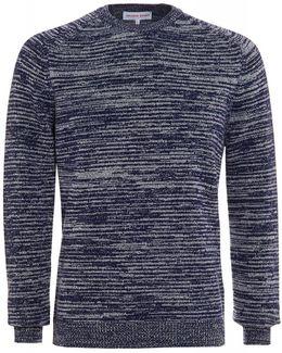 Marvin Navy Mouliné Stitch Lambswool Knit