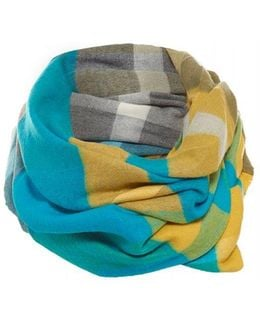 Scarf Blue Lime Infinity Check Snood