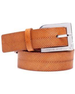 Belt, Tan Leather Silver Buckle
