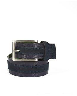Tillos Belt, Dark Blue Suede Leather Belt