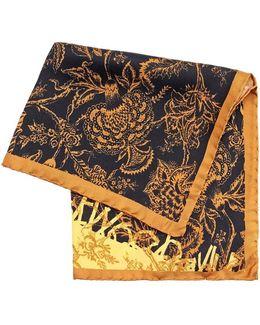 Handkerchief, Black Gold Floral Print Hanky