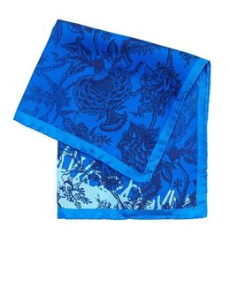 Handkerchief, Blue Navy Floral Print Hanky