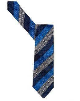 Tie Blue Morse Diagonal Striped Tie