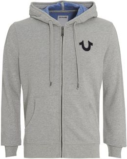 Hoodie Grey Buddha Graphic Zip Up Hooded Jumper