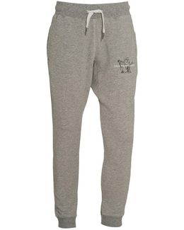 Sweatpants, Grey Cuffed Drawstring Buddha Logo Trackpants