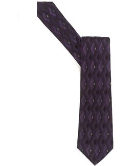Tie, Purple Diamond Geometric Silk Tie
