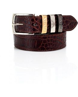 Crocodile Print Tan Belt