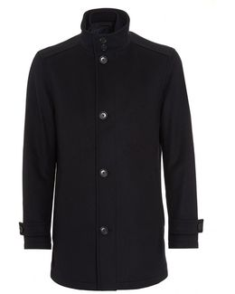 Camlow Wool Blend Navy Car Coat