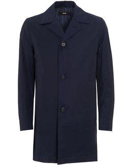 Dais9 Cotton Blend Water Repellent Navy Blue Coat