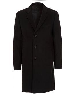 Nye New-wool Blend Black Crombie Coat