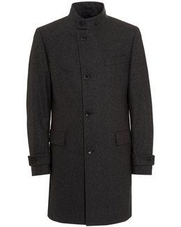 Sintrax1 New-wool Blend Striped Charcoal Grey Coat