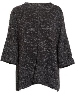 International Helical Poncho, Black Grey Marl Knit Jumper