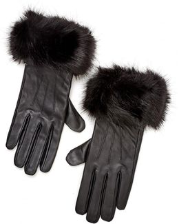 Lifestyle Faux Fur Quilted Leather Gloves